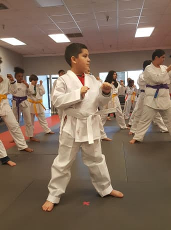 kids on karate class