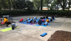 kids doing exercise